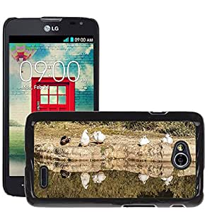Hot Style Cell Phone PC Hard Case Cover // M00310083 Nature Lake Animal World Landscape // LG Optimus L70 MS323