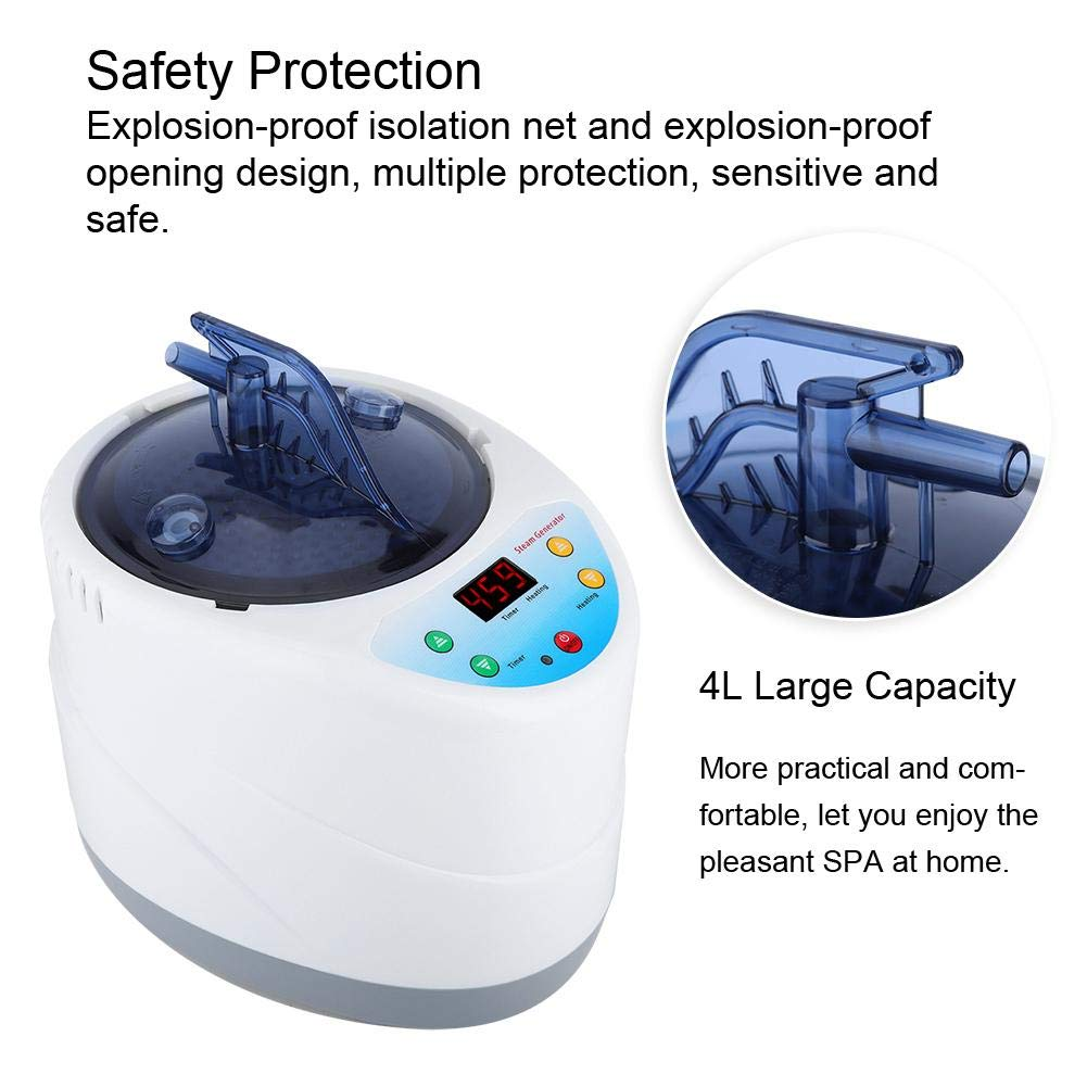kit de sauna de vapor ligero port/átil M/áquina de fumigaci/ón inteligente Control remoto Hogar sauna Tienda de vapor Spa Generador de vapor Generador de vapor para sauna 4L