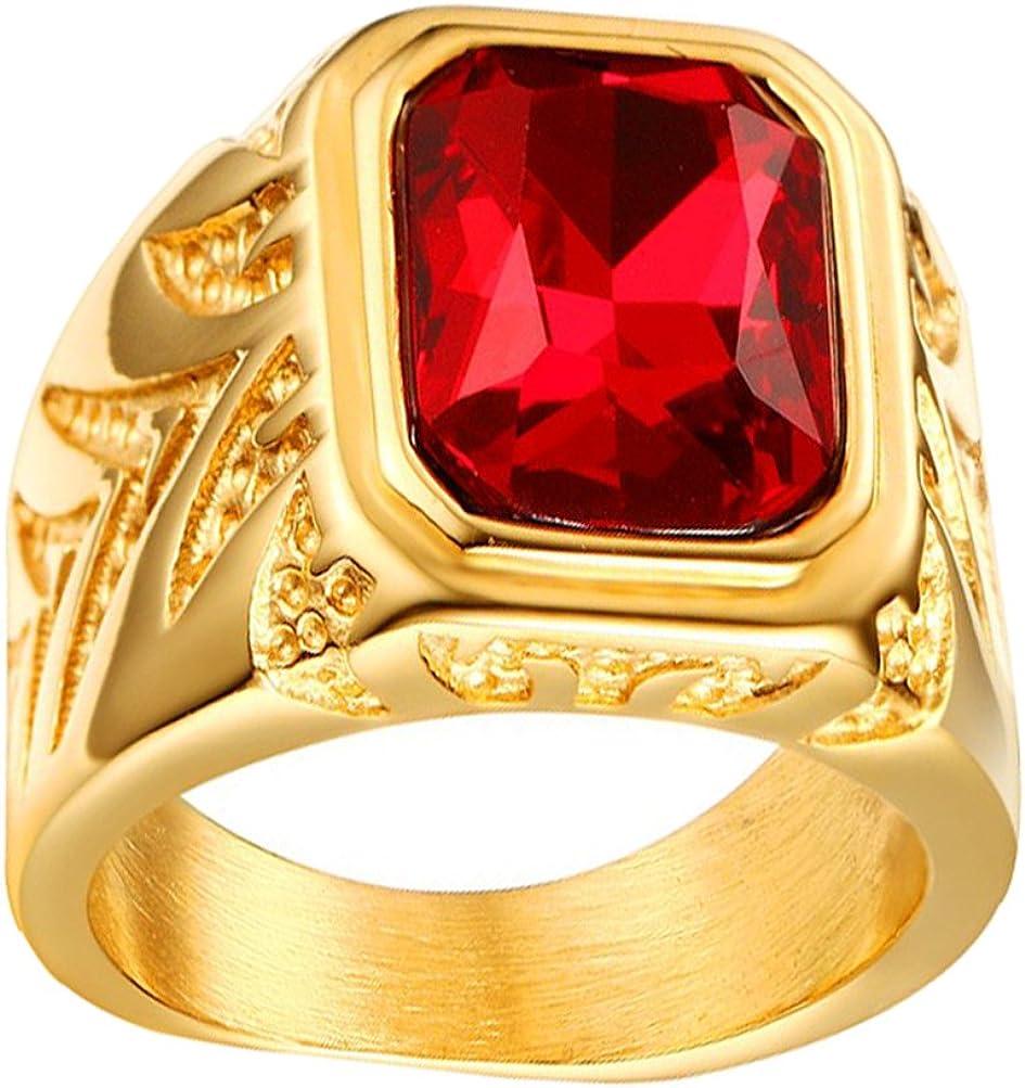 HIJONES Hombres Acero Inoxidable 15.5MM Rojo Diamante de imitación CZ Anillos Oro Chapado