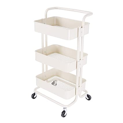 8f336c173c3e 3-Tier Metal Mesh Storage Shelf Utility Rolling Cart with Removable Handle  and Plug, Indoor or Outdoor Storage Organizer, Beige