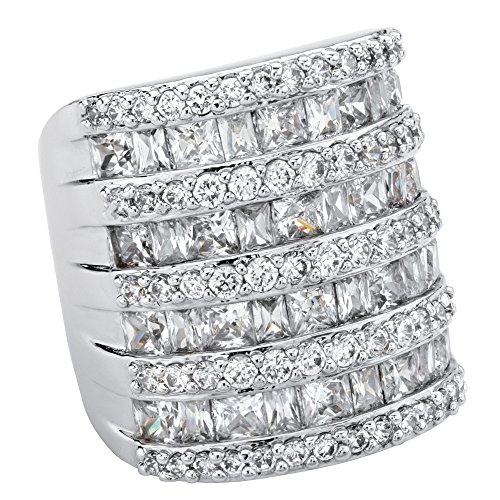 Palm Beach Jewelry Baguette-Cut and Round Cubic Zirconia Silvertone Channel-Set Cocktail Ring Size 6 ()
