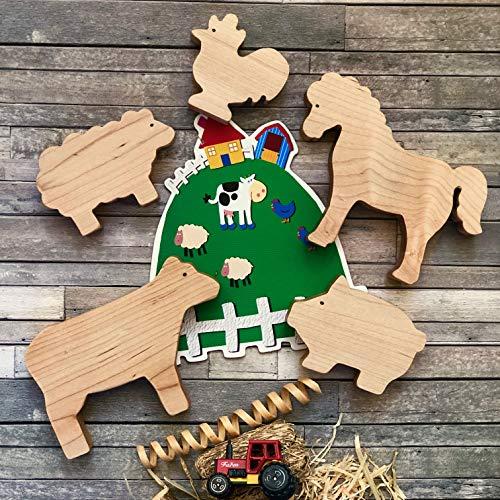 Farm Friends Play Set - Organic Maple wooden toys Waldorf Toy Montessori Toy Educational Enrichment Toy