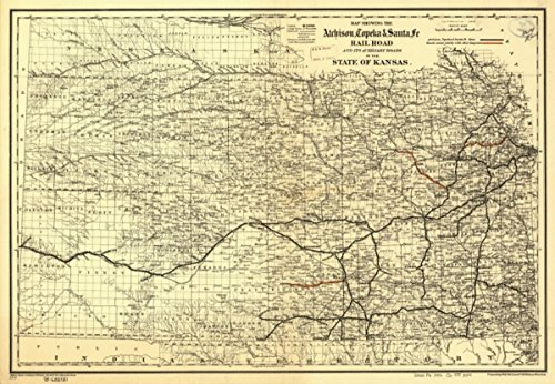 Auxiliary Rail (Map: 1886 showing the Atchison, Topeka & Santa Fé Rail Road and its auxiliary roads in the state of Kansas. Shows drainage, cities and towns, township and county boundaries, and the railroad network w)