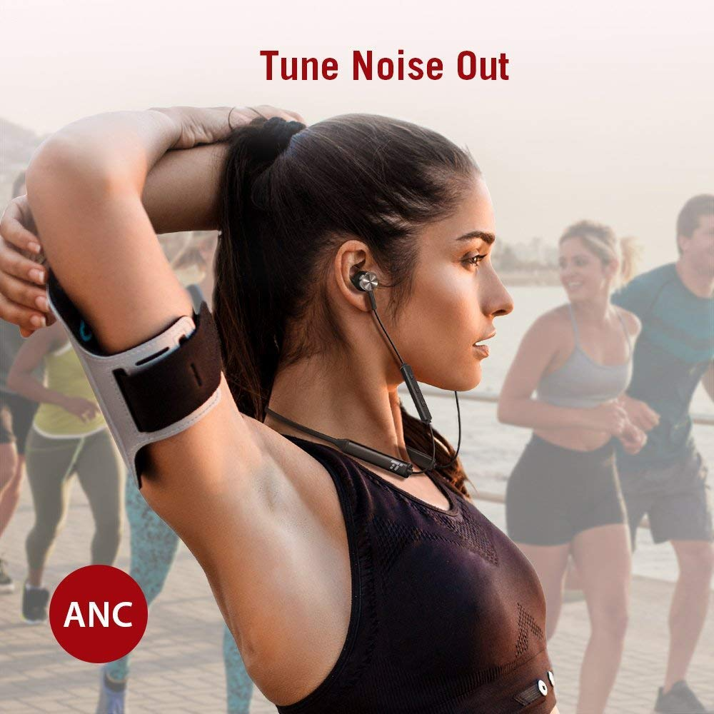 TaoTronics Neckband Bluetooth Headphones with ANC Active Noise Cancelling Wireless Headphones with Built-In Magnets IPX5 Splashproof 16 Hour Playtime /& cVc 6.0 Noise Cancelling MEMS Mic