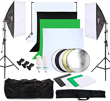OUBO Estudio Fotográfico Kit Completo Estudio de la Iluminación Contínua Softbox 2*135W bombilla con