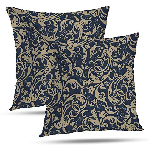 - Batmerry Floral Pillow Covers 18x18 Inch Set of 2, Antique Style Victorian Damask Art Double Sided Decorative Pillows Cases Throw Pillows Covers