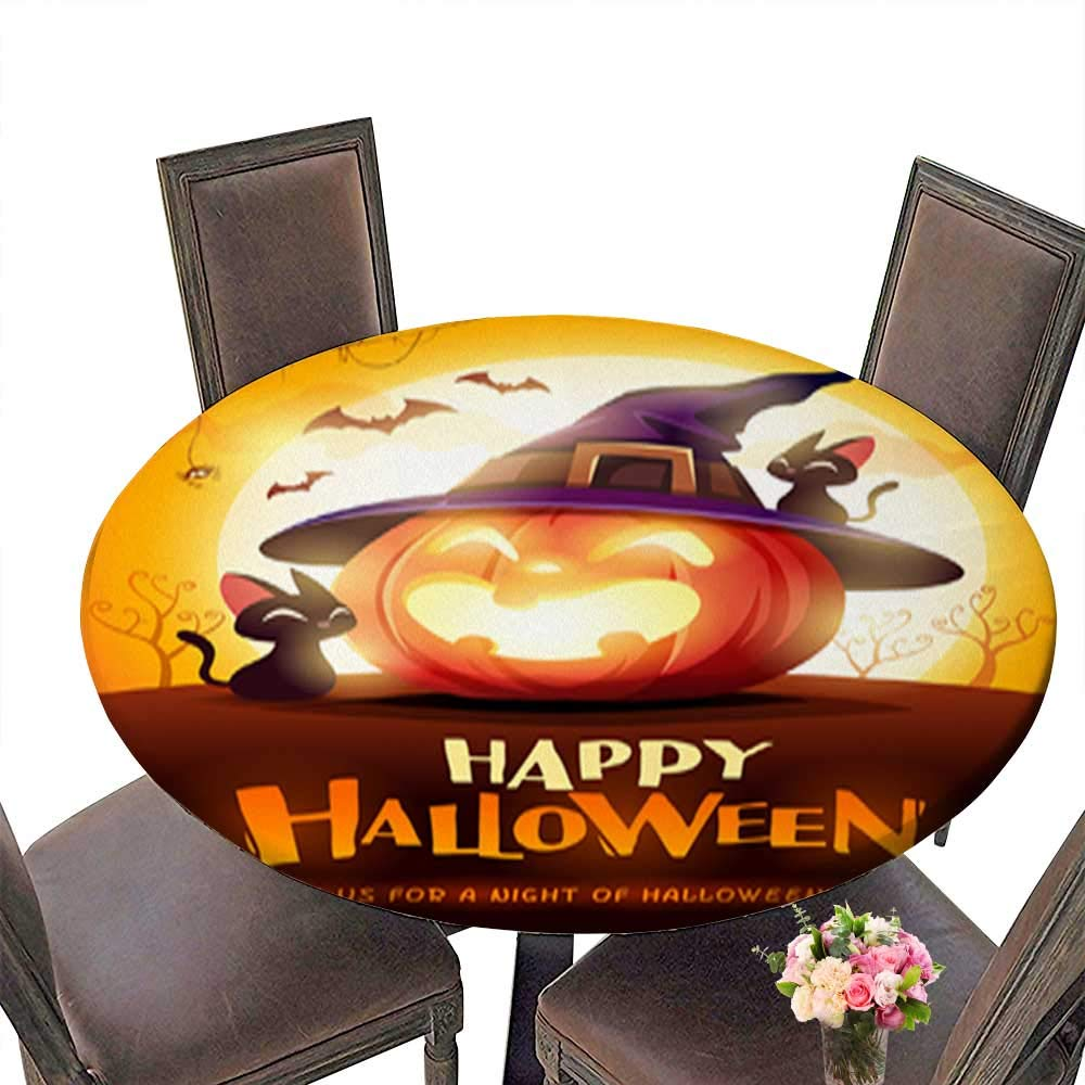 Polyester Round Tablecloth,Happy Halloween Halloween Pumpkin Jack O Lantern Pumpkin with Witch hat in The Easy Care Spillproof up to 31.5''-33.5'' Diameter