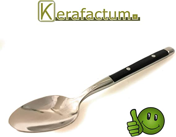 Kerafactum 6 Spoons Soup Spoons Loeffel Set Table Spoons for Soups Table Spoon Riveted Stainless Steel Cutlery Black Handles Country House Style Bistro Expandable Table Spoon Camping Cutlery