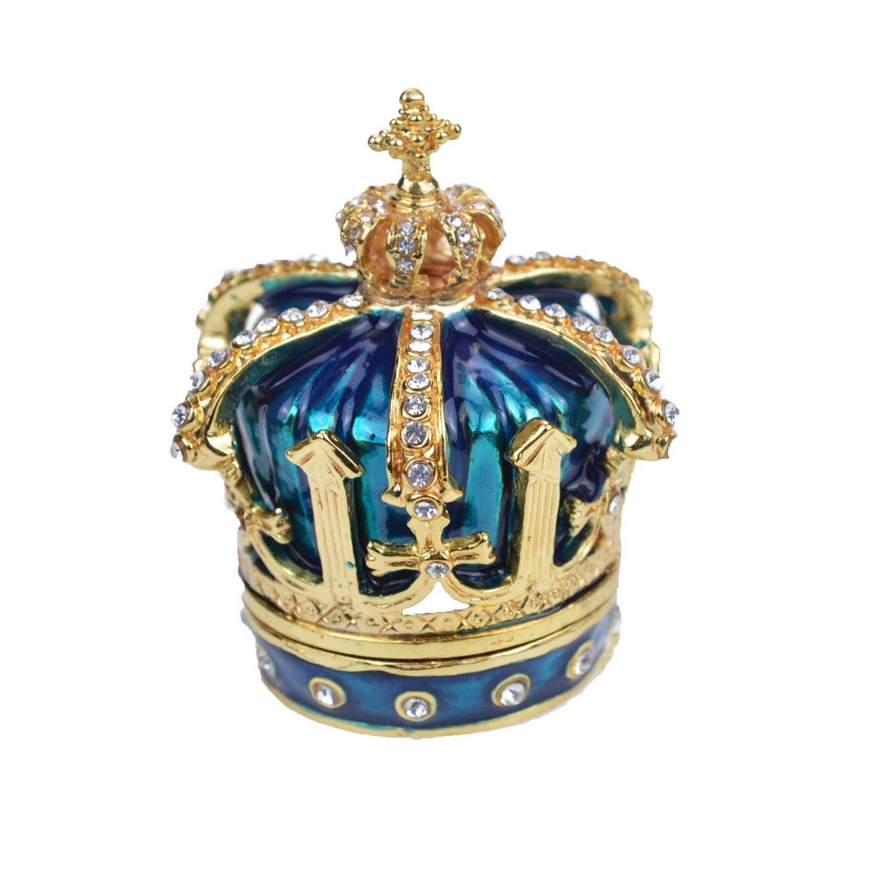 Hand Painted Enameled Blue Crown Hinged Jewelry Trinket Box