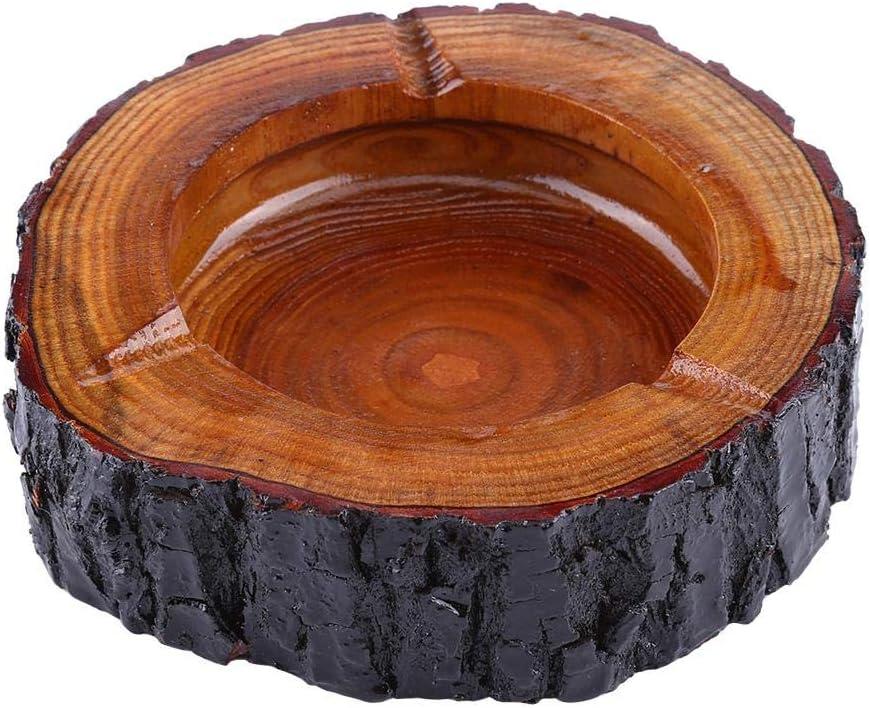 9-10cm Wal front Cendrier en Bois d/'Arbre Jaune Cendrier Creatif de D/écoration Sp/écial et Antique en Bois de Qualit/é 13-14cm