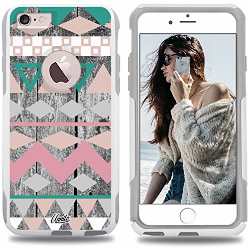 Unnito iPhone 6 Case - Hybrid Commuter Case | Slim Cover with Hard Shell Design and Soft Inner Layer Compatible with iPhone 6S White Case - Aztec Wood Chevron)
