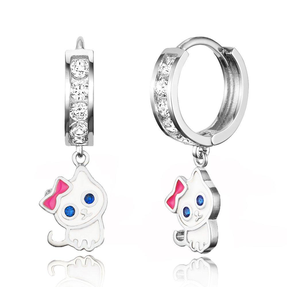 925 Sterling Silver Rhodium Plated Channel CZ Cat Baby Girl Hoop Huggie Earrings Lovearing SH3967