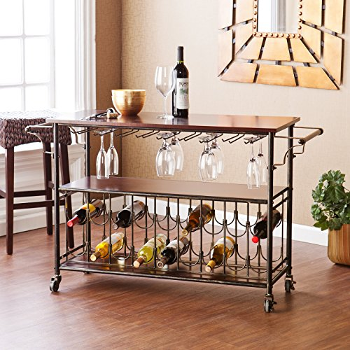 Bar Cart with Glass and Bottle Support, Metal Kitchen Cart Rolling Furniture Island. Portable Pool Bar Great Dining Room Accesories with Storage for Wine. Espresso Shelves with Black and Brushed Gold Frame Drinks Rack by Wildon Home