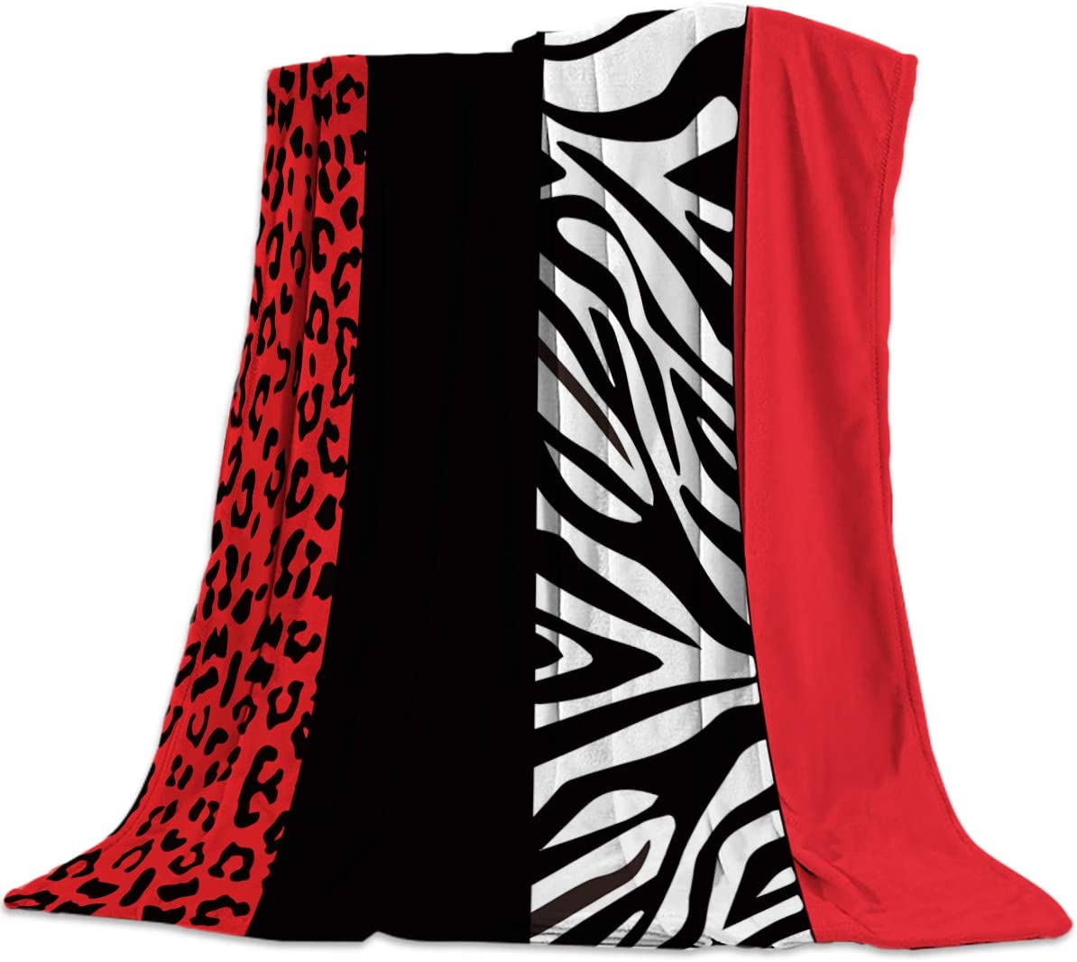 Throw Blankets Red Leopard and Zebra Animal Print Soft Breathable Warm Cozy Flannel Fleece Bed Blanket Bedspread for Home Sofa Couch Chair Living Bedroom All Seasons Use, 40x50
