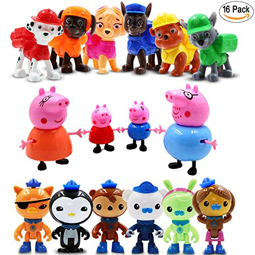 Quasi Octonauts Costume (16 Pack Cartoon Action Figures Toys - Dolls for Kid: 4 PCS Peppa Pig, 6 PCS Paw Patrol, 6 PCS Octonauts)