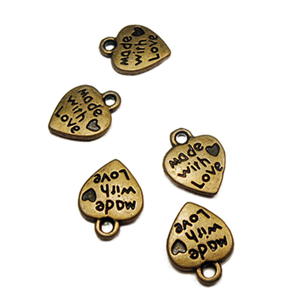 50pcs Silver/Gold Plated MADE WITH LOVE Carved Tone Charm Pendant For Crafting,Sewing,Bracelet Necklace Earrings Crafting DIY Jewelry Making (Bronze) Brussels08