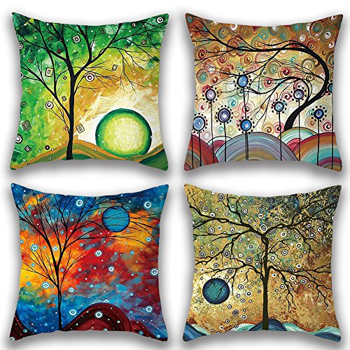 - JOTOM Soft Cotton Linen Throw Pillow Case Cover Home Decorative Square Cushion Cover18'' x 18'' Set of 4 (Fantasy Tree)