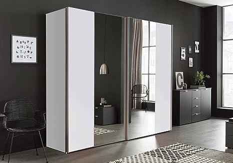 Wardrobe With Mirrored Door Wardrobe Bedroom Cupboard Sliding Screen Wardrobe With Sliding Doors Programm Mirror And Frosted White Amazon De Küche Haushalt