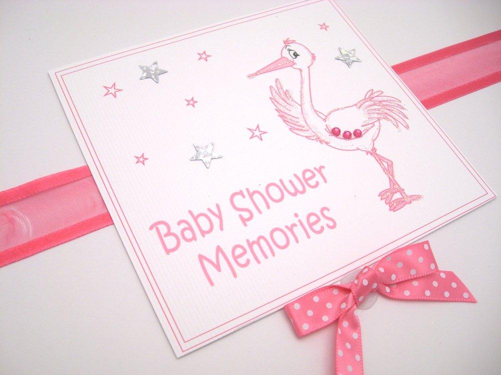White Cotton Cards Erinnerungsbox zur Babyparty, Storch, Pink