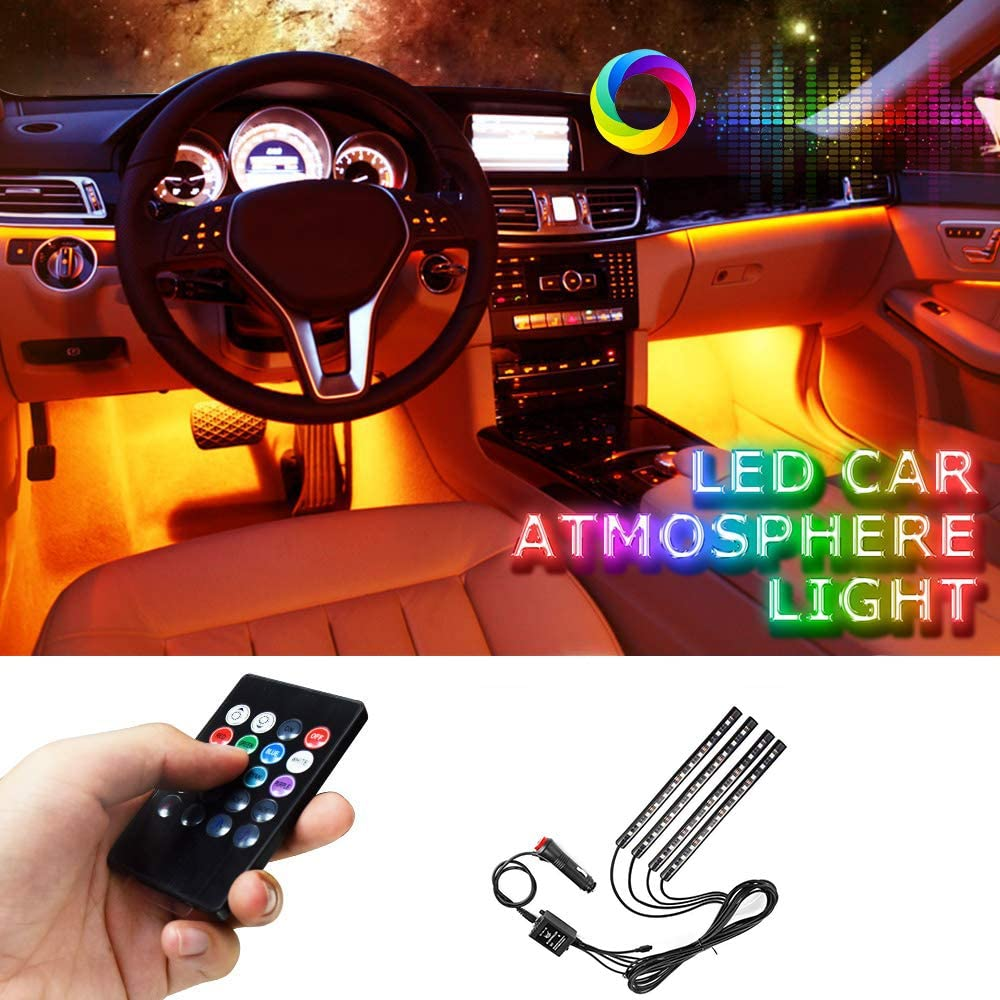 LED Innenbeleuchtung Auto 4pcs 48 LED wasserdichte Mehrfarbenmusik-Auto-Innenlichter impr/ägniern solide aktive Funktion und drahtlose Fernbedienung DC 12V Lemonmax Auto LED-Streifen-Licht