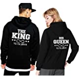 King Queen Hoodie Pärchen Pullover Set Mit Datum Couple Pullover Kapuze Paar  Pullis Sweatshirt Partner Schwarz e9e2196c53