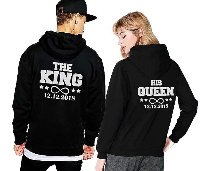 Friend Shirts King Queen Hoodie Pärchen Pullover Set Mit Datum Couple Pullover Kapuze Paar Pullis Sweatshirt Partner Schwarz Weiß Paar Geschenk 2