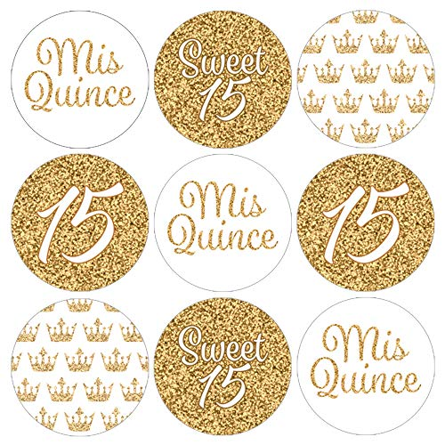 Quinceanera Party Favor Labels | White and Gold | 180 Stickers]()