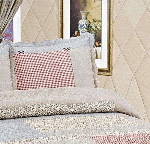 Vesna Paisley Reversible Coverlet 3-Piece Patchwork Quilt Set with Shams Soft Cotton Luxury Bedspread&Comforter Queen Size Summer Blanket 1 Quilt 2 Pillow Shams Boy Girl Gift