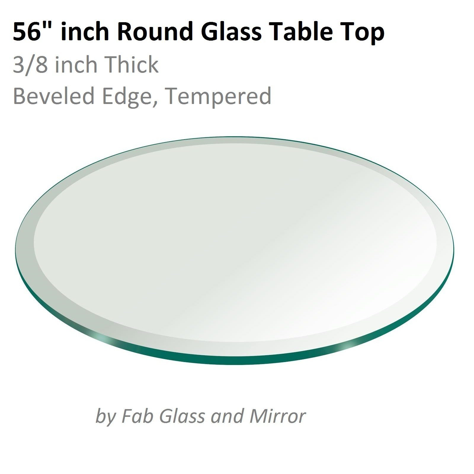 56'' Inch Round Glass Table Top 3/8'' Thick Tempered Beveled Edge by Fab Glass and Mirror