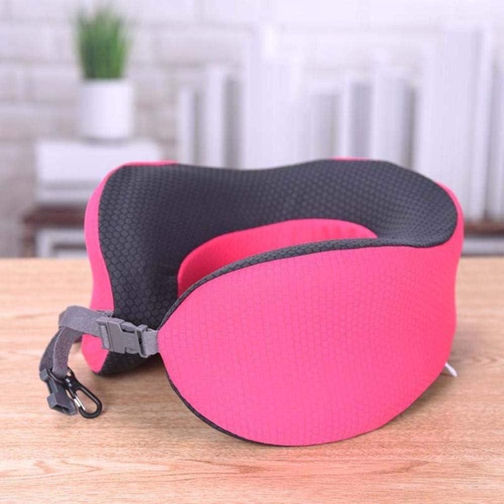 ASDFG - Almohada de viaje con forma de U de espuma viscoelástica para cuello plegable, para dormir en avión, coche, oficina, hot pink, 25cmx25cm