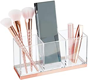 mDesign Plastic Makeup Organizer Caddy Bin with 3 Sections for Bathroom Vanity Countertops or Cabinet: Stores Makeup Brushes, Eye and Lip Pencils, Lipstick, Lip Gloss, Concealers - Clear/Rose Gold
