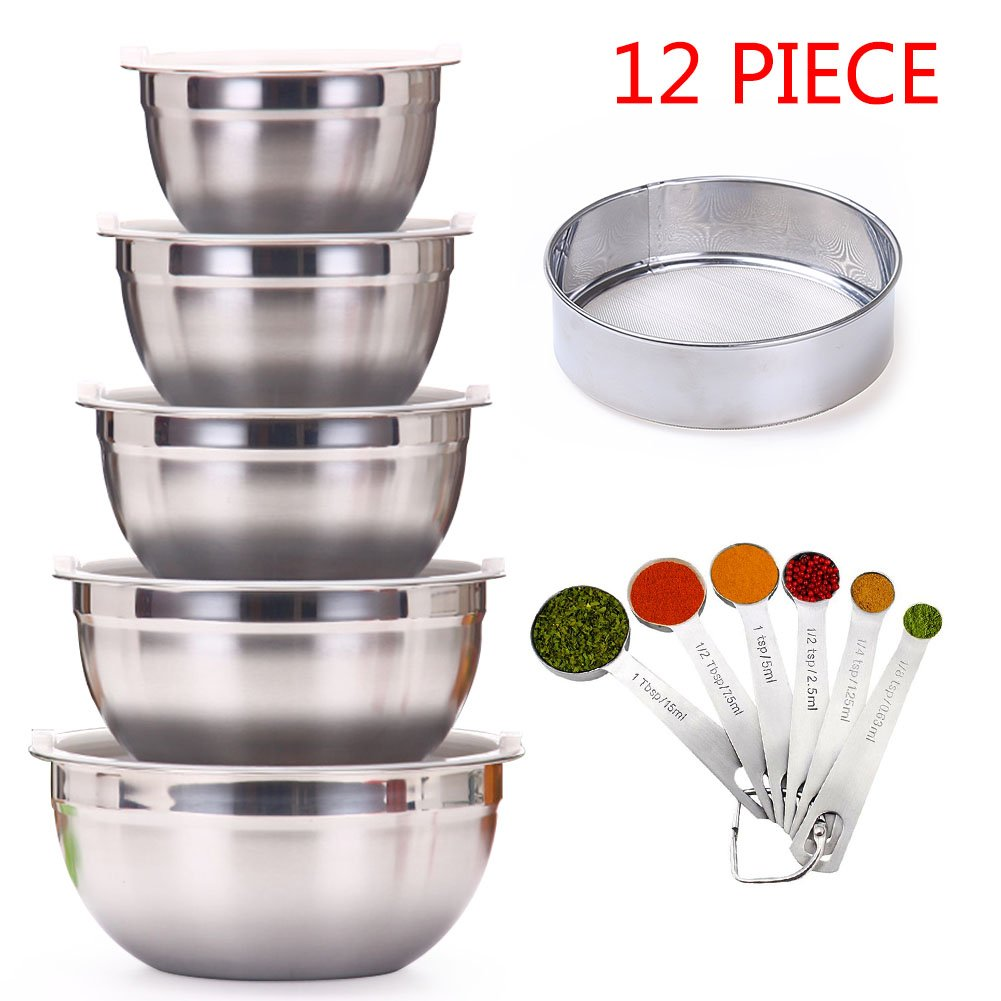 Vencer Various Sizes Stainless Steel Mixing Bowl With Airtight Lids, Equipped with Set of 6 Stainless Steel Nesting Measuring Spoons and Flour Mesh filter Colander Sieve Strainer Sifters, VSO-022