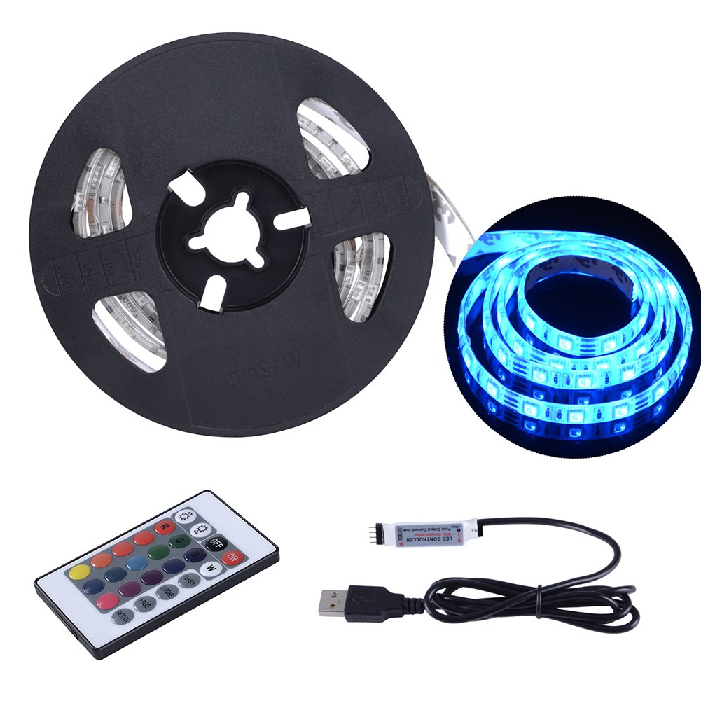 USB LED Strip Lights 6.56ft 2M 5050 IP65 Waterproof RGB TV Backlight Kit Table Multi Color LED Tape with Remote Controller for TV PC Laptop Background Lighting