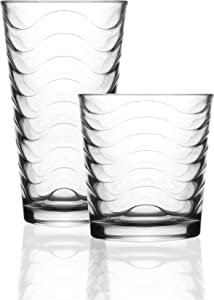 Circleware Pulse Set of 12 Highball Tumbler Drinking Glasses and Whiskey Cups 6-15.7 oz & 6-12.5 oz, Glassware for Water, Beer, Juice, Ice Tea, Bar Beverages, 12pc, Clear