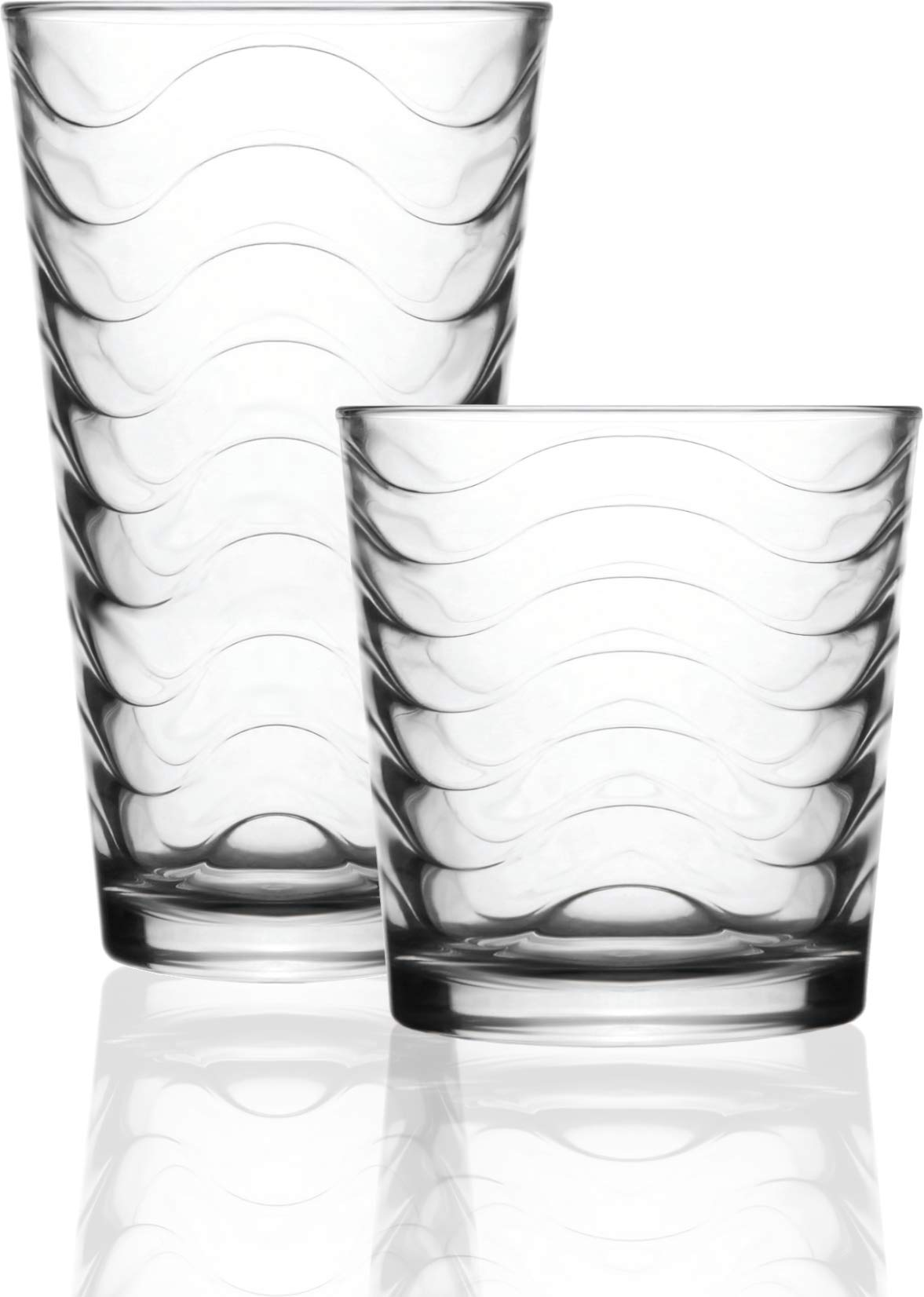 Circleware 40138 Pulse Set of 12 Highball Tumbler Drinking Glasses and Whiskey Cups 6-15.7 oz & 6-12.5 oz, Glassware for Water, Beer, Juice, Ice Tea, Bar Beverages, 12pc, Clear