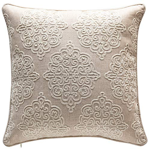 - TINA'S HOME White Damask Texture Linen Embroidery Throw Pillow with Down Alternative Insert | Charlotte Rope Stitch Accent Pillow for Living Room Couch Sofa Bed Decor (18 x 18 inches, Natural)