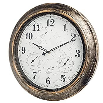 Outdoor Clocks with Thermometer and Hygrometer - 18 Inch Silent Battery Operated Metal Clock,Wall Decorative for Patio,Pool and Home - Bronze