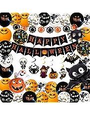 Synchain Halloween decoratieset, Halloween ballonnen, Halloween decoratie ballonnen, Halloween party decoratie, Halloween decoratie, oranje zwarte ballonnen met geesten en curbissen voor feestjes kinderen