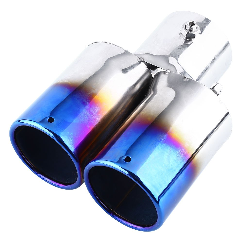 "3/"" exhaust tip muffler dual twin round slanted 9/"" long Stainless Steel"