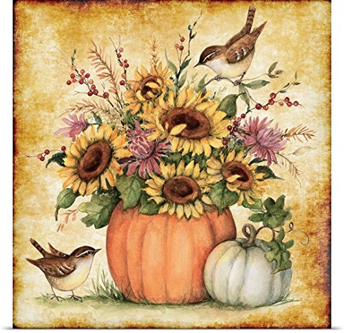 Susan Winget Poster Print entitled Pumpkin Sunflowers
