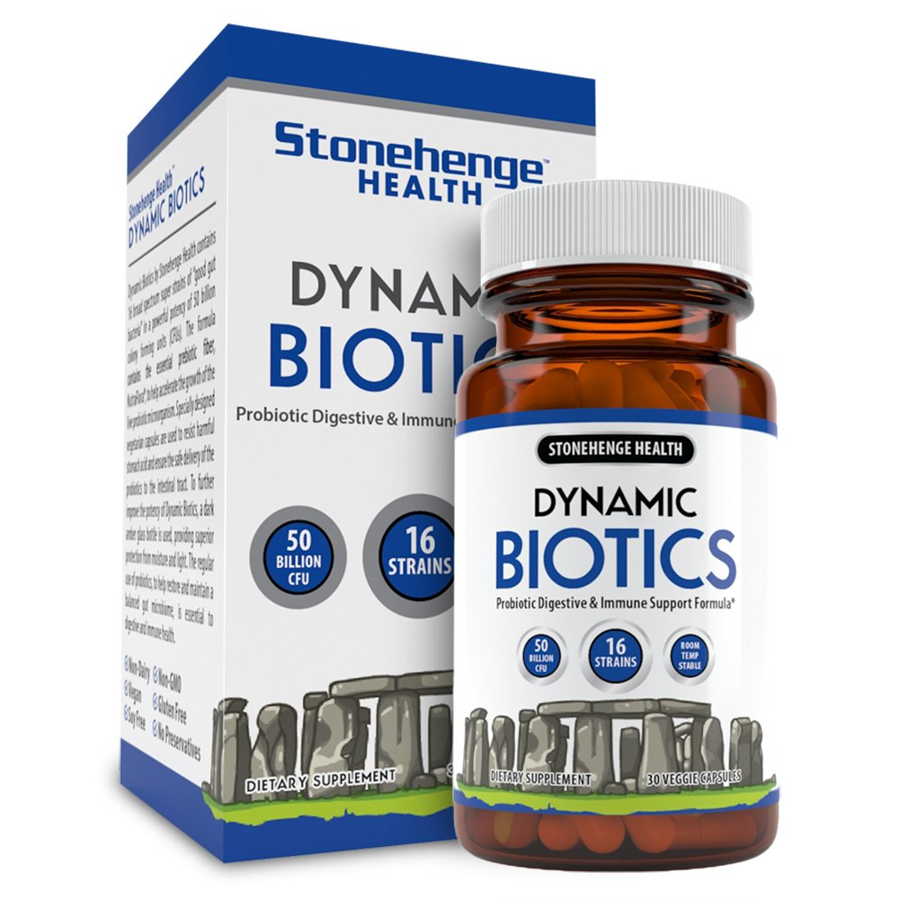 Stonehenge Health Dynamic Biotics 50+ Billion Probiotic CFUs 16 Strains + Prebiotic, Lactobacillus Acidophilus, Delayed Release, Shelf Stable, Non-GMO Gluten Soy Free Vegetarian Capsules (1 pack)