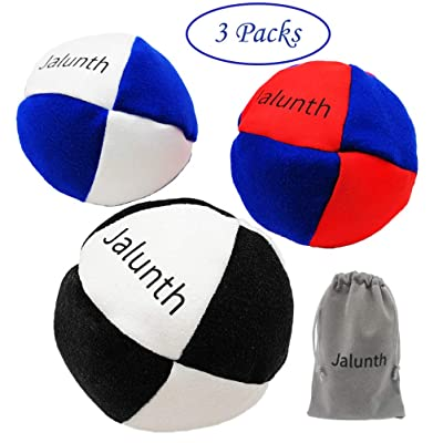 Jalunth Hacky Sack Footbag Balls Game Bags Bulk Set of 1 2 3 with Carry Bags No-Bust Hand Stitching (3 Pack): Sports & Outdoors