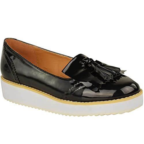 1f2e1ac34b4 WOMENS LADIES LOAFERS FLAT SHOES CHUNKY CLEATED SOLE OFFICE SMART TASSEL  SIZE  Amazon.co.uk  Shoes   Bags