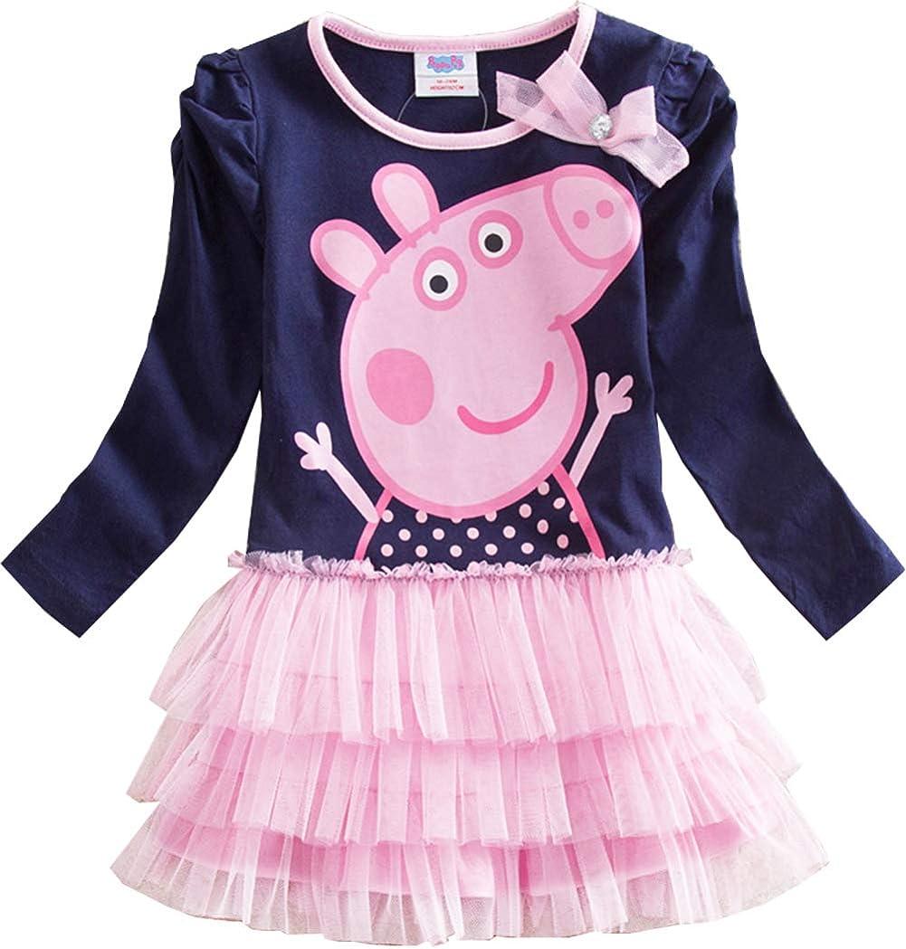 Uni-Wert Bambine Peppa Pig Vestito Bambina Carina T-Shirt Vestito da Balletto Vestito da Principessa Vestito da Ragazza