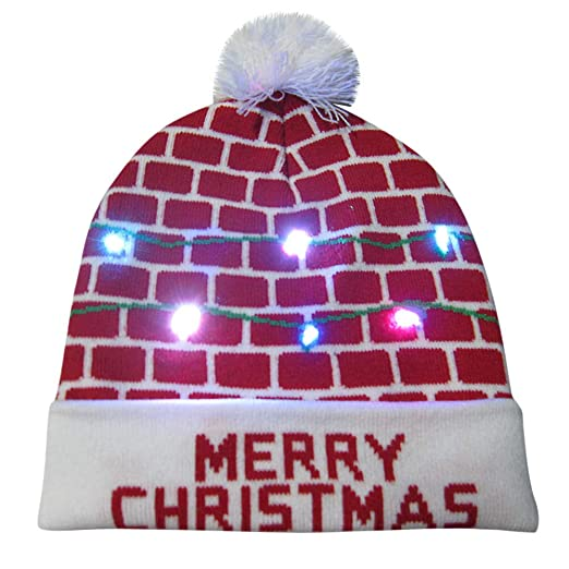 2db2c749bb2 Amazon.com  callm Wemon Man Merry Christmas LED Light-up Knit Hat Beanie  Hairball Warm Cap Gifts  Arts