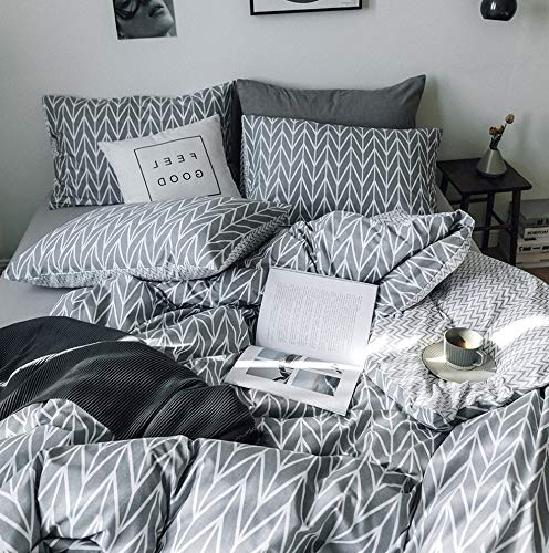 Hemau Reversible Geometric Pattern Set King 3 Pieces 100% Cotton Soft Bedding Cover Set with Zipper Closure Gray Chevron Striped Modern Comforter Cover Set King Size,4 Corner Ties | Style 503194452