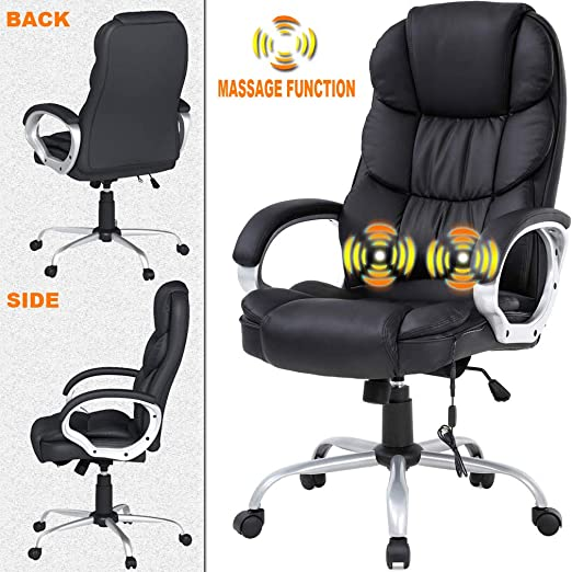 Amazon Com Ergonomic Task Desk Computer Chair Home Office Chair Massage Function Lumbar Support Soft Comfort With Armrest High Back Pu Leather Chair Adjustable Rolling Swivel Nice Chic Best Home Office Chair Kitchen