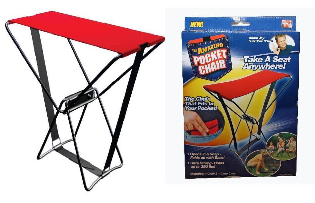 Pocket Chair Part - 42: The Amazing Pocket Chair Stool Holds Up To 250 Lbs Foldable Chair For  Outing: Amazon.in: Electronics