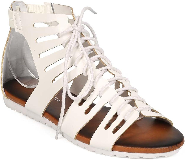 Women Leatherette Open Toe Lace Up Slit Gladiator Sandal EE89 - White