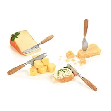 Boska Holland Mini Cheese Knives with Oak Wood Handle, 4 Pieces Gift Set, 10 Year Guarantee, Life Collection
